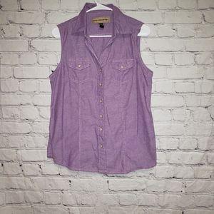 Bit & Bridle Western Sleevless Snap Button Top